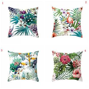 Tropical Plant Pillow Cover 18x18inch Pillow Case Peach Skin Sofa Decorative Pillow Cover Throw Pillows Cushion Cover Home Decor VT0447