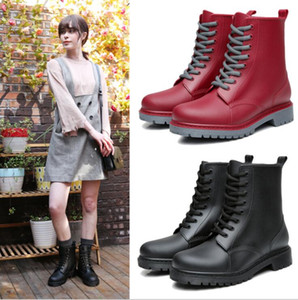 Women's Fashion Rain boots Waterproof Shoes Woman Mud Water Shoes Rubber Lace Up PVC Ankle Boots Sewing Rain Boots plus size 44