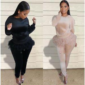 Solid Color женщин Дизайнерские костюмы шнурка способа Guaze Щитовые с длинным рукавом Длинные брюки женщин 2PCS наборы Повседневный Суки одежды