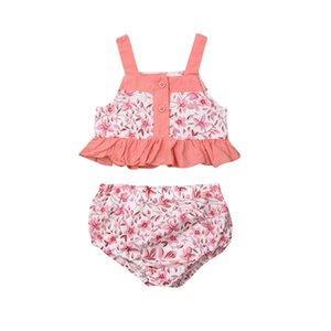 Pudcoco Floral Summer Abbigliamento per bambini 2019 Toddler Baby Girls Outfit Cinghia T-shirt Tops Vest + Shorts Lovely Baby Clothing