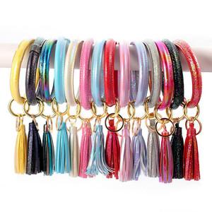 Femmes Tassel Bracelet en cuir PU Laser Holographic Bracelet Bracelet Bracelets Keychain Porte-Tassel Cercle brillant Porte-clés Pendentif D21703
