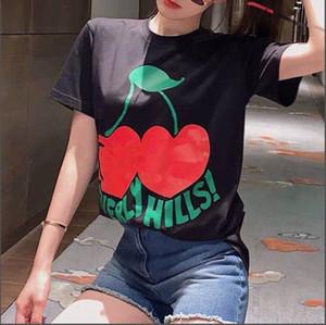 20 primavera y el verano dos corazones de melocotón nueva carta cereza cuello redondo manga corta camiseta de la impresión de la juventud ocasional S-XXL