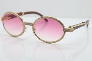 Wholesale-2019 نظارات النظارات الإطار الكامل الماس 7550178 النظارات الشمسية المستديرة خمر للجنسين مصمم النظارات الراقية العلامة التجارية الحجم: 55