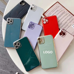 iPhone Para Phone Case 6D Galvanoplastia Camera Proteção Moda 11 MAX PRO Iphone XR XS X Max 6 7 8 Plus com logotipo telemóvel caso cores