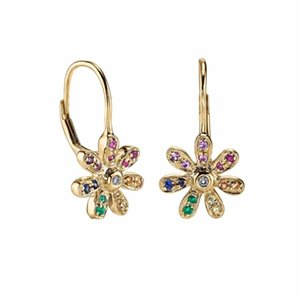 2020 summer new arrived flower charm rainbow colorful cubic zirconia earring for girls clip clasp minimal daisy flower jewelry