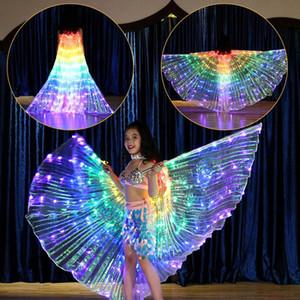 Meninas Colorido Luz LED Dança Do Ventre Asas Borboleta Traje para Crianças Oriental Dança Do Ventre Indiano Dança Acessórios Meninas Capes