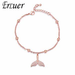 ERLUER Charm Bracelets for Women Crystal Mermaid Tail Jewelry Girl Bead Adjustable Zircon Bracelet Fasion Jewellery Accessories