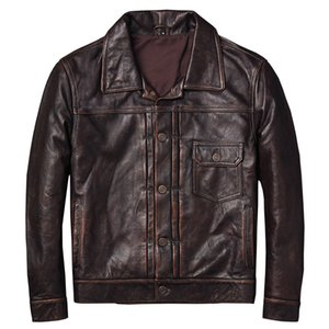 ZVAQS Leather Coats for Men Material of Real Cow Leather 2020 Spring New Jacket Men Style of Moto&Biker Slim Vintage PPH896