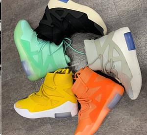 2019 страх Божий туман Баскетбол обувь кроссовки Модельеры Оранжевый импульсный свет Кость Амарилло Желтый туман Boots Увеличить Мужчины Женщины обувь