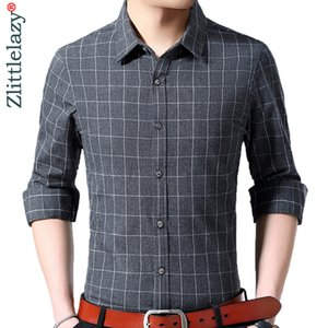 2020 brand long sleeve men social shirt spring streetwear casual plaid shirts dress mens slim regular fit clothes fashions 0053
