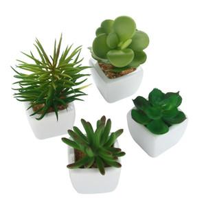 4pcs / set artificielle Plantes Succulentes Carré blanc Pots en céramique Faux Lotus Aloe Plantes rares Paysage jardin Potted Décor Faux Bonsai