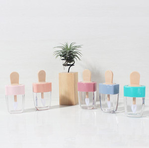 20pcs 5ml Lipgloss Plastic Box recipientes vazios Ice Cream Forma Lipgloss Tubo Eyeliner cílios Container Mini Lip Gloss Dividir Bottle