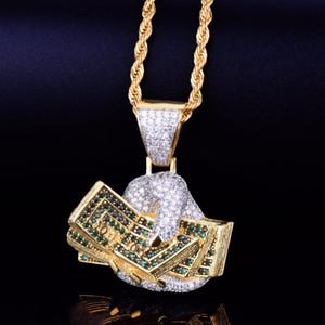 Рука с деньгами доллар золотой кулон ожерелье личностная цепочка золото серебро с кубиками циркония хип-хоп рок ювелирные изделия