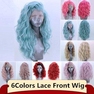 Moda 6 renkler Uzun Kıvırcık Dantel Ön Peruk Ücretsiz Bölüm Sentetik Peruk Parti için Tam Cosplay Peruk