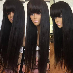 zui Wig with Bangs Straight lace front Human Hair fringe Wigs For Black Women Brazilian Short long Remy natural Hair Pre Plucked