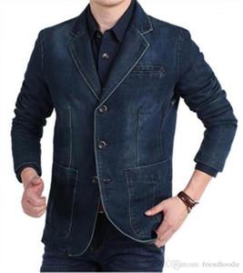 Blazers con los bolsillos V cuello delgado recto del Mens del diseñador Jean chaquetas para hombre del dril de algodón de manga larga