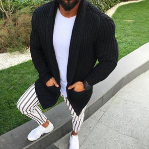 2020 Art und Weise neue Knit-Mantel-Männer Slim Fit Langarm Solid Color Wolle Cozy Taschen-Strickjacke Revers-beiläufiger Knit-Strickjacke-Mantel