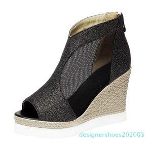 2020 New Designer Denim Sandals Summer Roman Sandals High Quality Wedges High Heels Peep-Toe Platform Shoes Woman d03