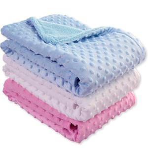 2019 recién nacido Bebé niños Manta Swaddling Recién Nacido Térmico Suave Lana Manta Sólido Juego de cama Edredón de algodón