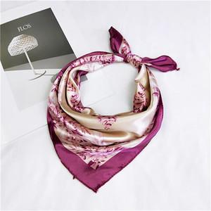2020 das Lenço de seda 50 * 50 centímetros quadrado pequeno de cetim lenço de cabeça Neck Scarf Foulard Femme Bandana Mulheres elegantes Laço Faixa de Cabelo Enrole Handkerchief