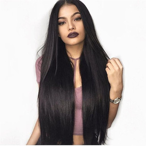 Silky Straight Middle Part Straight Lace Front perruque pré plié Brésilienne vierge de cheveux humains Full Lace Wig 150% densité blanchie noeuds