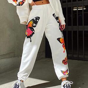2020 I nuovi pantaloni di ButterflyPrint pantaloni della tuta Donne vita alta Pantaloni larghi di sport di Streetwear Moda jogging elastico Loose Women
