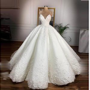 Fantástica espaguetis correas vestidos de novia de encaje con el suelo Apliques Longitud vestido de novia por encargo de la boda de la vendimia Vestido de Noiva