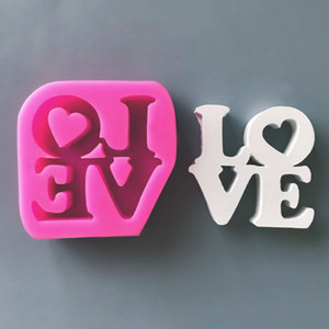 AMOUR Uppercase Fondant Cake Silicone Moules Romantique Coeur Moule De Bonbons Pour Le Mariage Décor À La Maison Chocolat Gâteau De Cuisson Outil