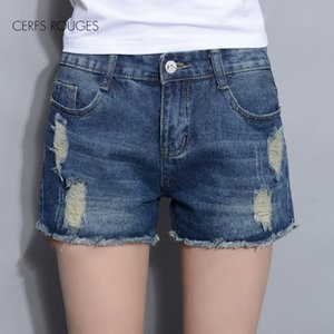 hot Summer Hole Solid Cotton shorts jeans for women female women's clothing girl's small big size T200704