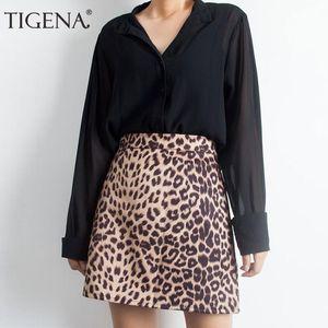 Tigena sexy mini matita leopardo gonna donna 2019 primavera estate a vita alta gonna corta femminile coreano moda gonna signore Y19060301