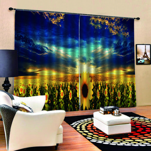 Custom yellow sunflower curtains Window Blackout Luxury 3D Curtains set For Bed room Living room