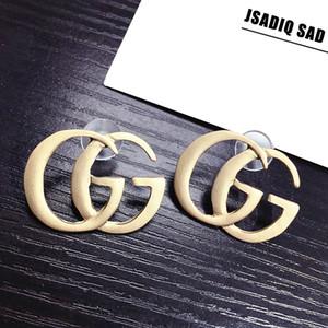 women G Gold silver letter earring