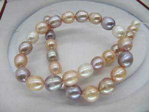 """gioielli con perle di alta qualità naturale elegante 11-13mm mare bianco rosa viola viola multicolor collana di perle 18 """"14k"""
