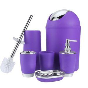 6 In 1 Bathroom Toothbrush Holder Hand Sanitizer Bottle Soap Holder Toilet Brush Waste Bins Bathroom Accessories Set