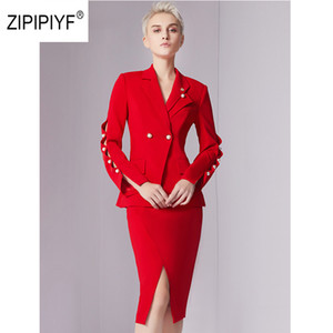 Original Zipipiyf New fashion women suits work wear office ladies Petal sleeve Pearl blazer+Front slit skirt suit 2pcs AB278