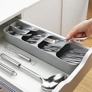Lagertablett Küche-Fach-Organisator-Küche-Löffel Gabeln Besteck Lagerung Trennbehälter aus Kunststoff Messerblock-Halter