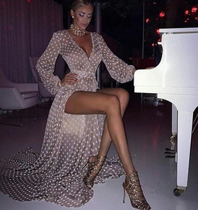 Moda de manga larga de poeta vestido de fiesta Vintage Wave Point High Side Split Mujeres Vestidos del Club de cóctel Vestido de noche de baile barato 2098