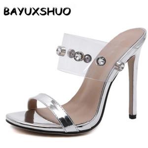BAYUXSHUO Summer Women High Heel Slippers Light  Rhinestone Fish Mouth Stiletto Heels Fashion Casual Wild Ladies Slippers