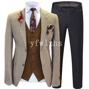 New Style Two Buttons Handsome Notch Lapel Groom Tuxedos Men Suits Wedding Prom Dinner Best Man Blazer(Jacket+Pants+Tie+Vest) W209