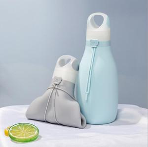 Folding bewegliche Silikon-Wasserflasche mit Haken 500ML Outdoor Sport Camping-Reisen-Wasser-Beutel zusammenklappbaren Wasser Cup 5 Farben geben Verschiffen