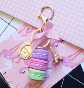 DHL الأزياء ماكارونس برج ايفل قلادة المفاتيح ماكارونس الكوكيز مفتاح كعكة حلقات بدائل سلاسل المفاتيح أكياس المعلقات للالثانية النساء والمجوهرات