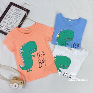 2020 boy's cartoon dinosaur top modal cotton Tyrannosaurus printing girl's TOIU