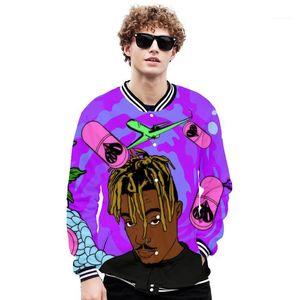 Men Bomber Jacket Plus Size 3D Print Men Baseball Jackets Solid Fashion Juice Wrld Souvenir Coat mens Casual Collar Spring Autumn