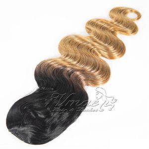 Virgin brasileira Rabo Humano cutícula Alinhados # 1B / 27 Two Tone Preto Loiro Ombre cores 120g Long Wave Corpo Clipe cordão extensões do cabelo