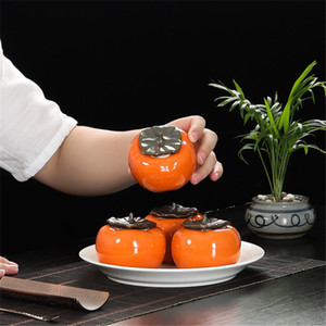 Ceramic Persimmon Shape Tea Canister Coffee Box Puer Green Tea Sealed Jar Mini Storage Can for Oolong Tea Preferred
