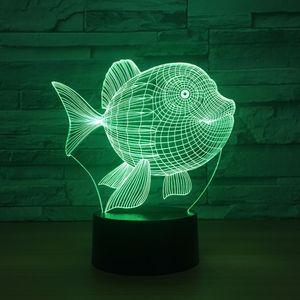 싼 물고기 3D LED 야간 조명 7 컬러 터치 스위치 LED 조명 플라스틱 램프 Shape 3D USB 전원 야간 빛 분위기 참신 조명