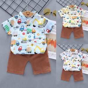 New Fashion 2020 Summer Toddler Boys Baby Kids Girl Cartoon Children Car Print Tops+Shorts Outfit Set Clothes Baby Outfits