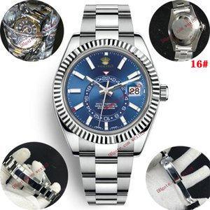 aço 20 relógios novos dos homens automática relógio mecânico calendário 42 milímetros inoxidável Sky-Dweller GMT homens de negócios luminosa relógio à prova d'água