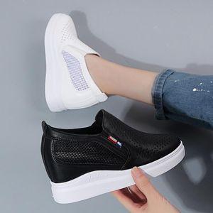 Vendita calda-pattini casuali delle donne della piattaforma traspirante scarpe da tennis della donna incunea Scarpe formatori aumentare di altezza