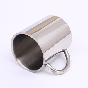300ml 400ml Stainless Steel Double Layer Coffee Mug Cups Portable Camping Cup With Handgrip Stainless Steel Mountaineering Mugs DH1116-3 T03